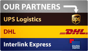 Our partners: UPS Logistics, DHL, and Interlink Express